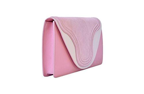 Piel mujer rosa para Bolso BORGENNI de rosa asas bianco de xYIAvq6