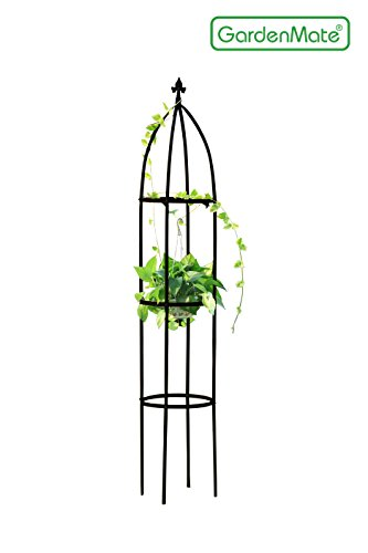 GardenMate® Rankhilfe Obelisk SCHWARZ Höhe 190cm Ø 35cm Massiv Pulverbeschichtetes Stahl