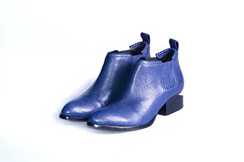Amoonyfashion Ronde Neusluide Dames Met Dichte Neus En Lage Hakken Laarzen Met Rubberen Zolen En Uniek Platform Blauw