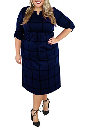 Womens Plus Size 3/4 Shift Midi Dress Plaid V Neck Bodycon Business Pencil Dress Navy Blue