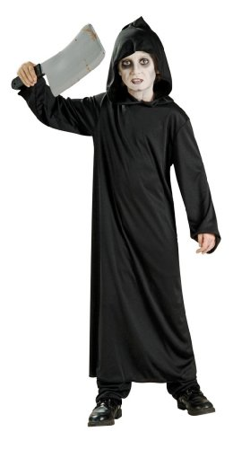 Black Hooded Costumes (Haunted House Child's Black Horror Robe, Large)