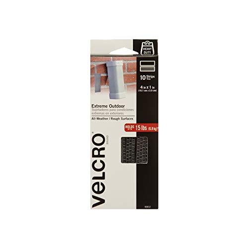VELCRO Brand - Industrial Strength Extreme Outdoor | Heavy Duty, Superior Holding Power on Rough Surfaces | 10 Strips | 4in x 1in | Titanium
