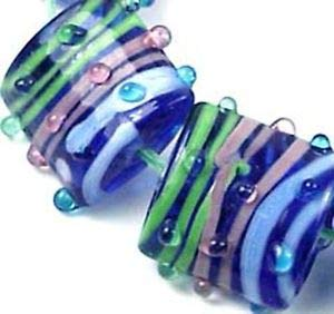 6 Lampwork Handmade Glass Square Pink Green Blue Ribbon Beads 18mm Spacer Beads and Roll Crystal String for Bracelets Jewelry ()