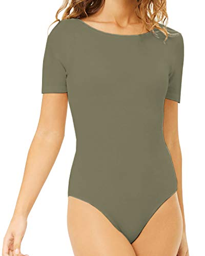 MANGDIUP Women's Round Collar Short Sleeve Elastic Bodysuits Jumpsuits (Army Green, -