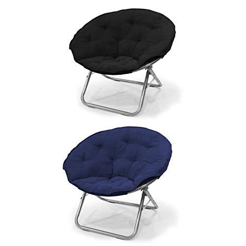 Microsuede Club Chair - Mainstays Large Microsuede Saucer Chair in Black Bundle with Mainstays Large Microsuede Saucer Chair in Navy