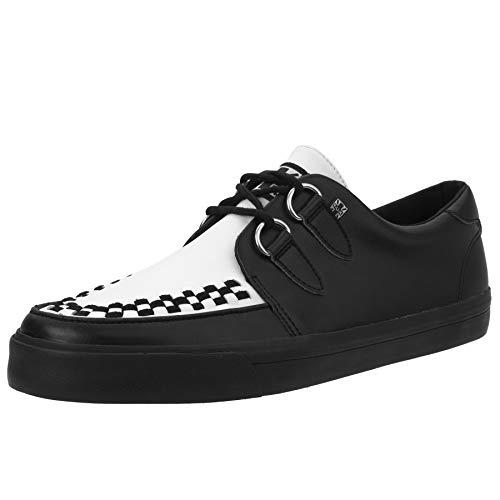 (T.U.K. A9180 Unisex Black & White VLK Creeper Sneaker with Black Sole)