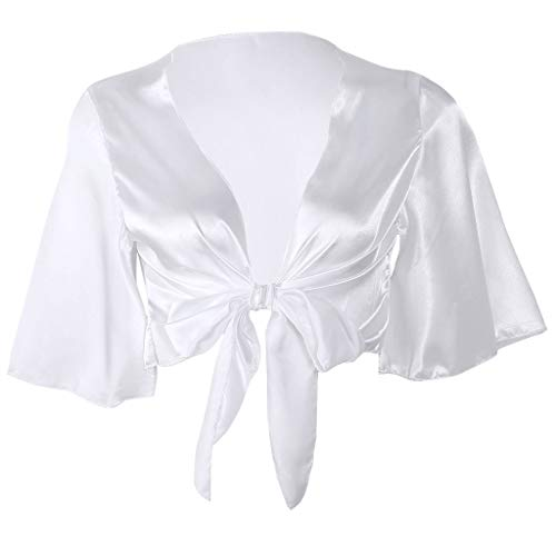 PoityA Women Ladies Satin Tie Knot Front Flared Short Sleeve Shirt Plunge Neck Crop Top - White-XL
