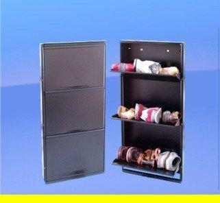 Space-saving, 3-drawer, Italian Shoe Cabinet Organizer, Black ...