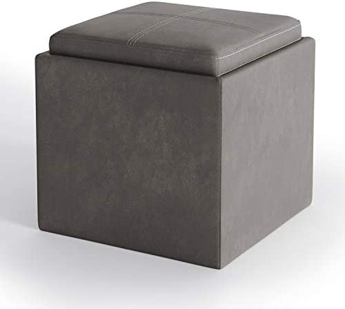 SIMPLIHOME Rockwood 17 inch Wide Square Cube Storage Ottoman