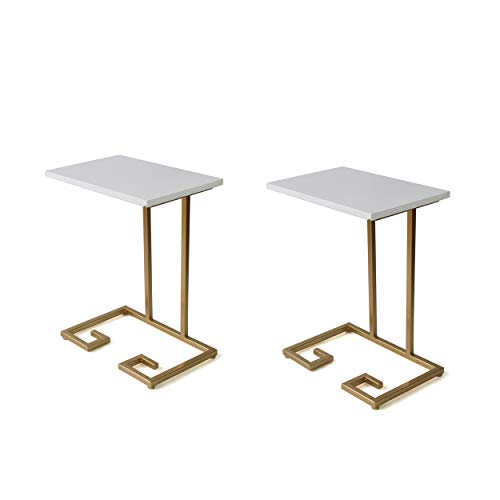 Great Deal Furniture 307648 Ariade Modern Glam C Side Table, Set of 2, White and Champagne Gold,
