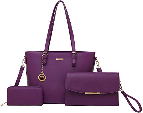 Women's Satchel Handbag Designer Large Laptop Top Handle Bag 3 PCS Set Shoulder Bag (A6-purple)