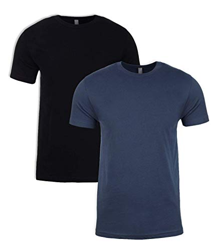 Next Level Mens Premium Fitted Short-Sleeve Crew T-Shirt - Black + Indigo (2 Pack) - - Sleeve Black Crew Short Apparel