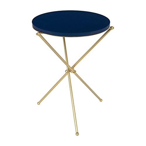 Kate and Laurel Emellyn Modern Luxe Folding Side Accent Table with Round Painted Wooden Top and Metal Tripod Legs, Navy Blue and Gold, 16-inch diameter x 23-inches tall -