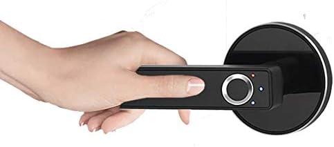 電子ドアロック ステンレス鋼指紋ロックスマート生体認証ドアロックホーム 電子錠 (Color : Black, Size : One size)