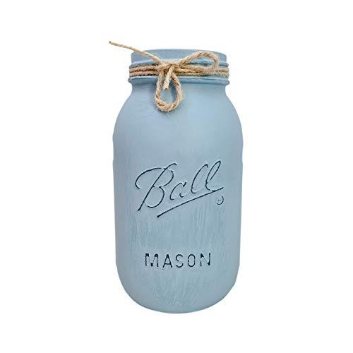 LIGHT BLUE Painted Quart Size Ball Mason Jar, 32 oz. Painted and Distressed Mason Jar, Regular Mouth Ball Mason Jar, Vase