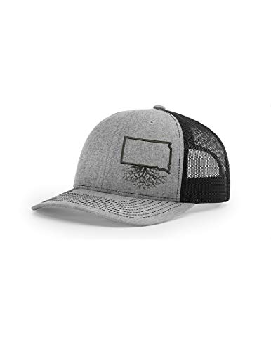 Wear Your Roots Snapback Trucker Hat (One Size - Adjustable, South Dakota Heather/Black Mesh) ()