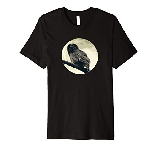 Fun Owl Moon Creepy Spooky Scary Halloween Orange Eyes Tee -