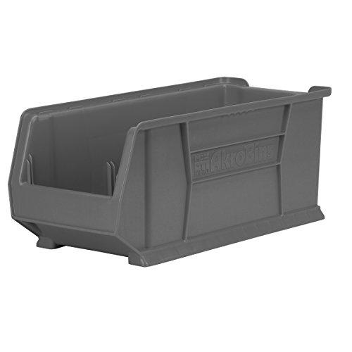Akro-Mils 30287GREY Super Size Plastic Stacking Storage, 24-Inch x 11-Inch x 10-Inch, Grey, Case of 4