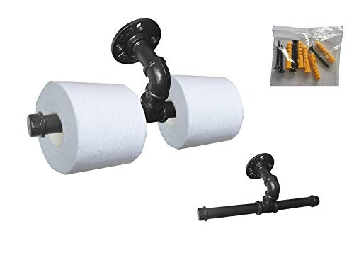 Double Pipe - Vintage Style Toilet Paper Holder, Industrial Iron Pipe Roll Tissue Holder with Double Holder Roller Towel Racks for Bathroom, Towel Horse Pipe Towel Bar.