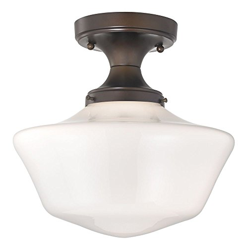 120v Line Voltage Round Canopy (12-Inch Wide Bronze Schoolhouse Ceiling Light)