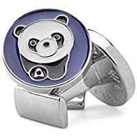 welbijoux Mens Cuff Links Enamel Engraved Panda Cuffs Luxury French Tuxedo Shirt Cufflinks for Men with Gift box 1 Set