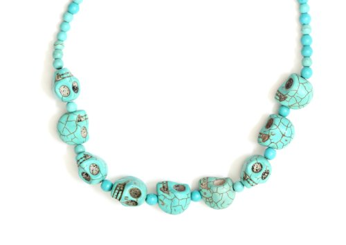 Magic Metal Witch Doctor Stations Necklace Turquoise Howlite NG72 Skulls Voodoo Bead Tribal Chunks Strand]()
