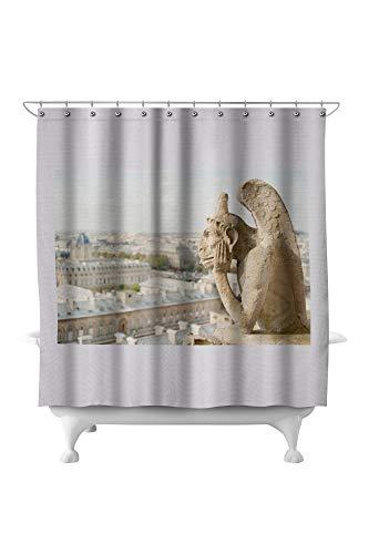Lantern Press Gargoyle on Notre Dame, France Photography A-91332 (71x74 Polyester Shower Curtain)