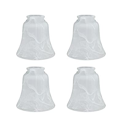 "Aspen Creative 23030-4 Transitional Style Replacement Bell Shaped Glass Shade (4 Pack), 4 3/4"" high x 4 3/4"" diameter, Alabaster"