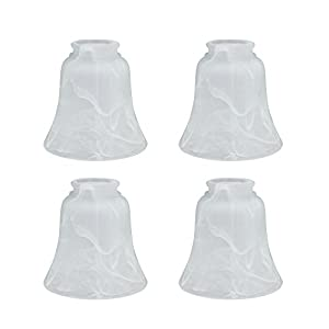 Aspen Creative 23030-4 Transitional Style Replacement Bell Shaped Glass Shade with 2 1/8″ Fitter Size (4 Pack), 4 3/4″ high x 4 3/4″ Diameter, Alabaster