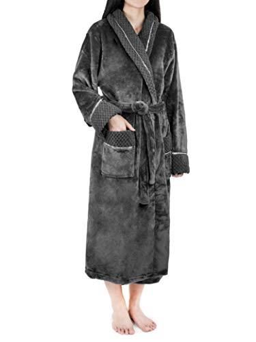Deluxe Women Fleece Robe with Satin Trim | Luxurious Plush Spa Bathrobe Waffle Design Grey