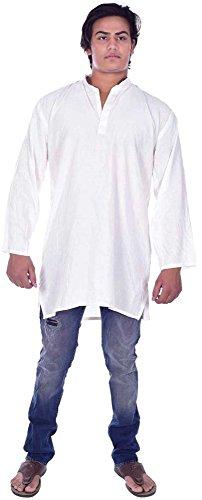 Men's Indian Kurta Loose Fit Solid White Color Shirt Tunic 100% Cotton Plus Size (Mens Tunic Shirts)