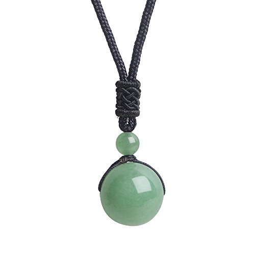 iSTONE Unisex Genuine Round Gemstone Beads Pendant Necklace Black Rope Chain 25 inch (Green Jade Aventurine)