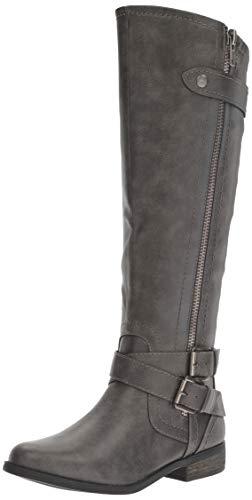 Rampage Women's Hansel Zipper and Buckle Knee-High Riding Boot,Grey,6 B(M) US Regular Calf