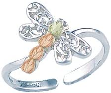 12K Black Hills Gold Leaves Sterling Silver Toe Ring with Dragonfly