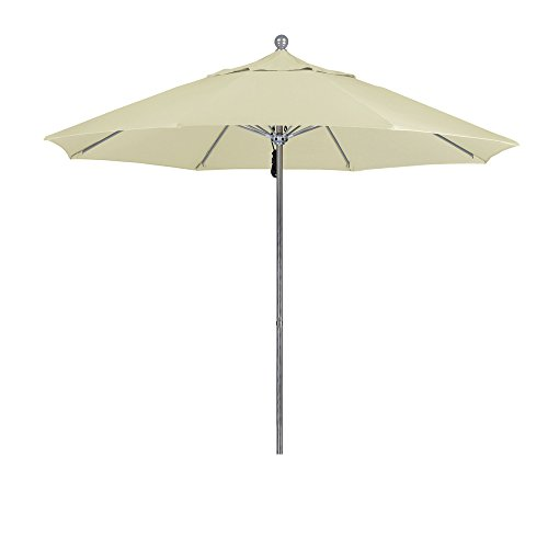 California Umbrella 9' Round Aluminum/Fiberglass Umbrella, Push Open, Silver Pole, Sunbrella Natural Fabric
