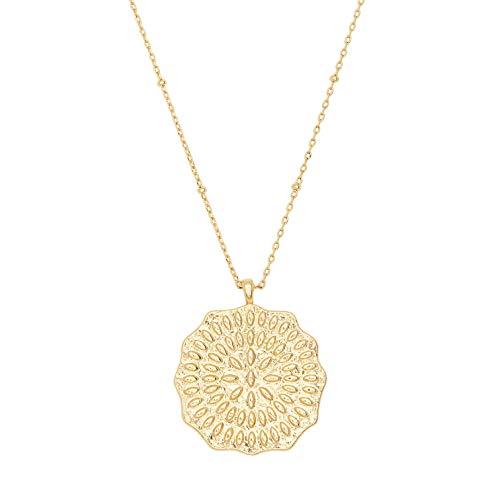Necklace Mosaic Pendant - gorjana Women's Mosaic Coin Necklace - 18K Gold Plated - Coin Necklace - Medallion Necklace - Adjustable Necklace