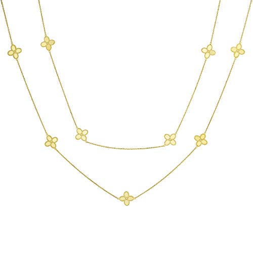 14k Italian Yellow Gold Four Leaf Clover Flower Station Necklace, 34 inches