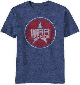 Iron Man 3 War Machine Logo Iron Patriot T-shirt (Extra Large, Heathered Blue)