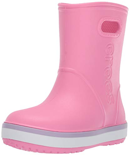 Crocs Unisex Crocband Rain Boot, Pink Lemonade/Lavender, 11 M US Little Kid