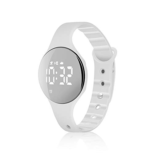 (iGANK Fitness Tracker Watch, T6A Non-Bluetooth Smart Bracelet Walking Pedometer Watch Step Counter/Calorie Burned/Distance/Alarm/Stopwatch for Kids Men Women (Brightwhite))