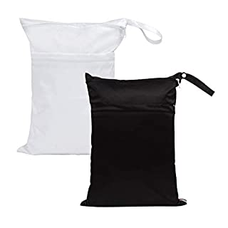 SMALLKE 2 pack Wet Bag,Baby Wet Dry Cloth Diaper Bags,Waterproof Washable, Reusable for Travel, Pool,Beach, Wet Swimsuits,Dirty Gym Clothes(black&white)