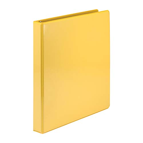 (Samsill Economy 3 Ring Presentation View Binder, 1 Inch Round Ring – Holds 200 Sheets, Customizable Clear View Cover, Yellow)