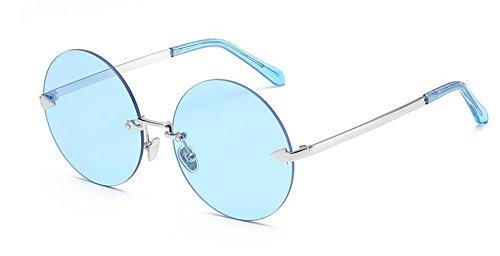 cercle lunettes style vintage rond polarisées du retro de métallique en Puce inspirées Lennon Transparente soleil Bleue HqvrH
