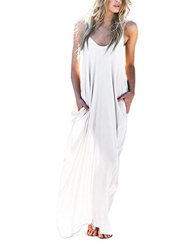 Kidsform Long Maxi Dresses for Women Cotton Spaghetti Strap V Neck Plus Size Plain Sundresses Summer Beach Party Casual Comfy Beachwear P-White Medium