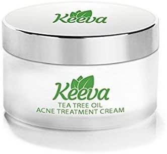 Keeva Organics Acne Treatment Cream With Secret TEA TREE OIL Formula - Perfect For Acne Scar Removal, Fighting Breakouts, Spots, Cystic Acne - See Results in Days Without Dry Skin (6oz)