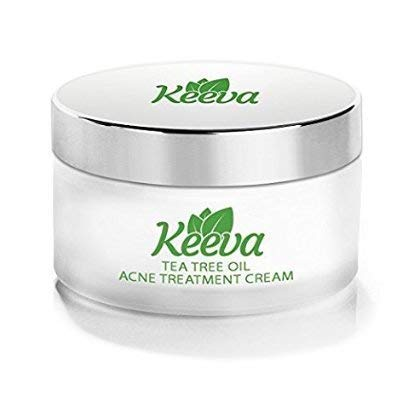 Aloe Smoothing Leave - Keeva Organics Acne Treatment Cream With Secret TEA TREE OIL Formula - Perfect For Acne Scar Removal, Fighting Breakouts, Spots, Cystic Acne - See Results in Days Without Dry Skin (1oz)