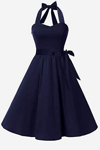 Topdress Women'sVintage Polka Audrey Dress 1950s Halter Retro Cocktail Dress Navy Blue 2XL - Cocktail Navy Blue