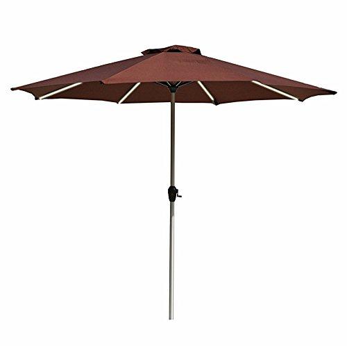 Le Papillon 9-Feet Outdoor Umbrella LED Light Bar Market Patio Umbrella with Crank, Coffee