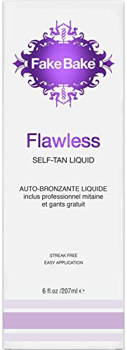 Self Tanning Liquid Solution Flawless by Fake Bake | Luxurious and Fast-Drying Solution that delivers a Beautiful Streak-Free Golden Glow | Black Coconut Scent | 6 fl oz