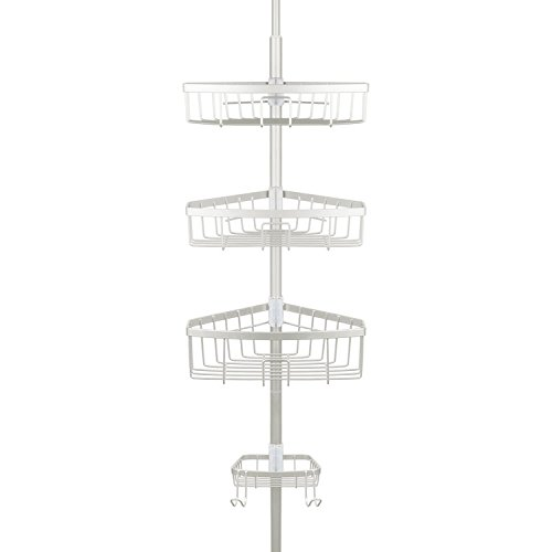 Richards Homewares Bathtub Shower Tension Corner Pole Caddy - Satin Nickel - Stylish Design with 3 Baskets with soap Dish - 10.5 x 9.5 x 108